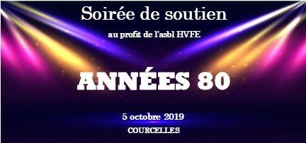 """Soirée de soutien """"Années 80""""  Samedi, 5 octobre 2019 à Courcelles"""